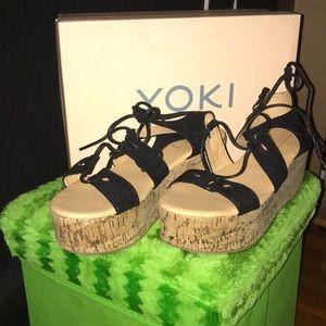 Worn once: YOKI BRAND CORK FLATFORM FOR SALE